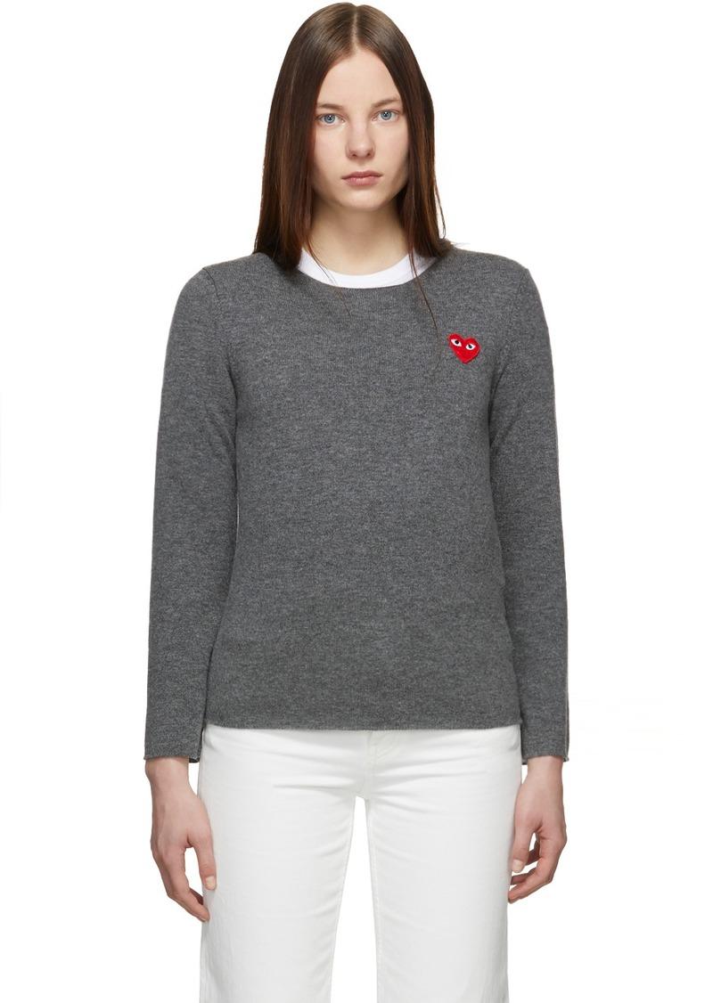 Comme des Garçons Grey Heart Patch Sweater