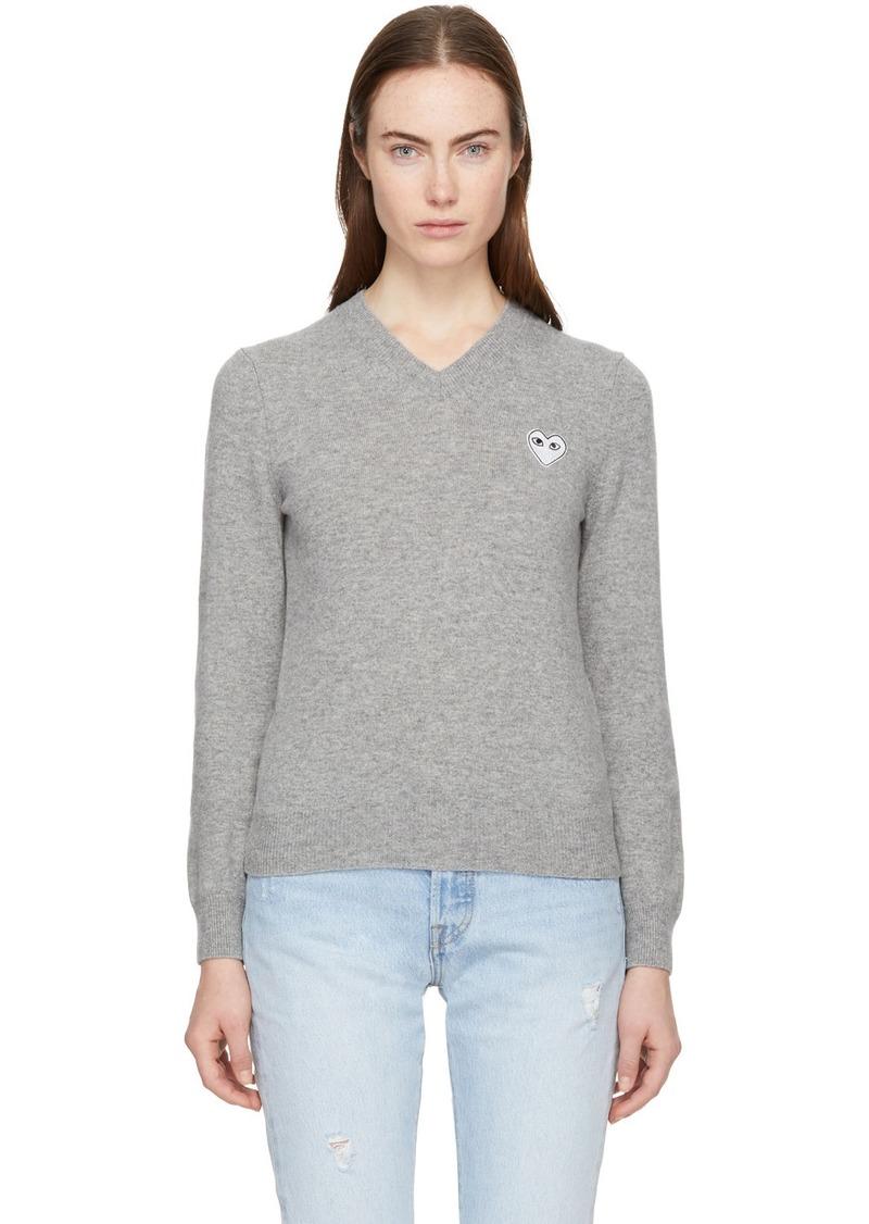 Comme des Garçons Grey Heart Patch V-Neck Sweater