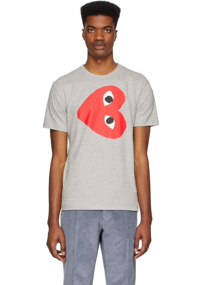 Comme des Garçons Grey Horizontal Heart T-Shirt