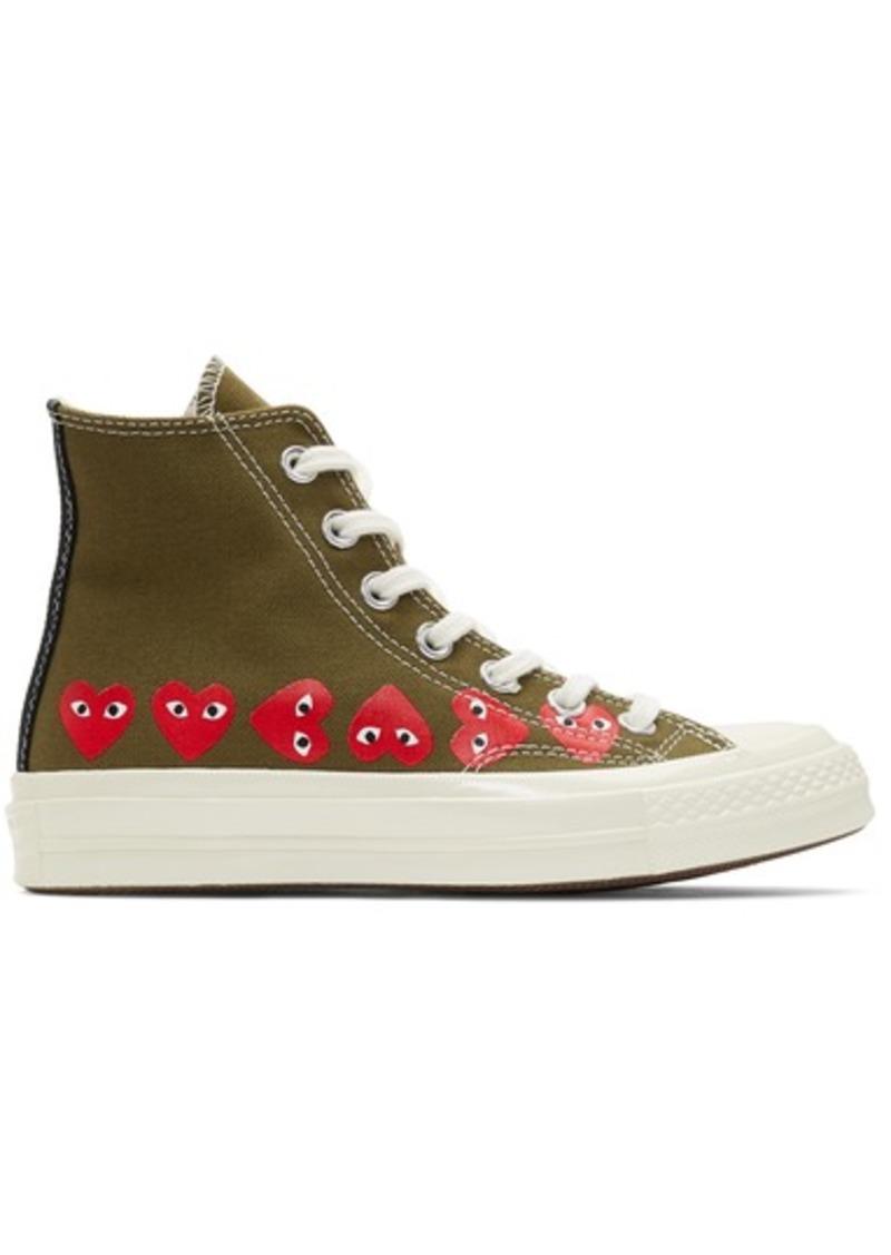 Comme des Garçons Khaki Converse Edition Multiple Heart Chuck 70 High Sneakers