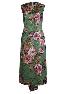 Comme des Garçons Metallic Floral Jacquard Midi Dress