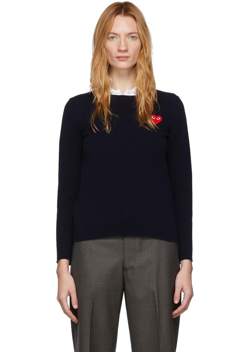 Comme des Garçons Navy Heart Patch Sweater
