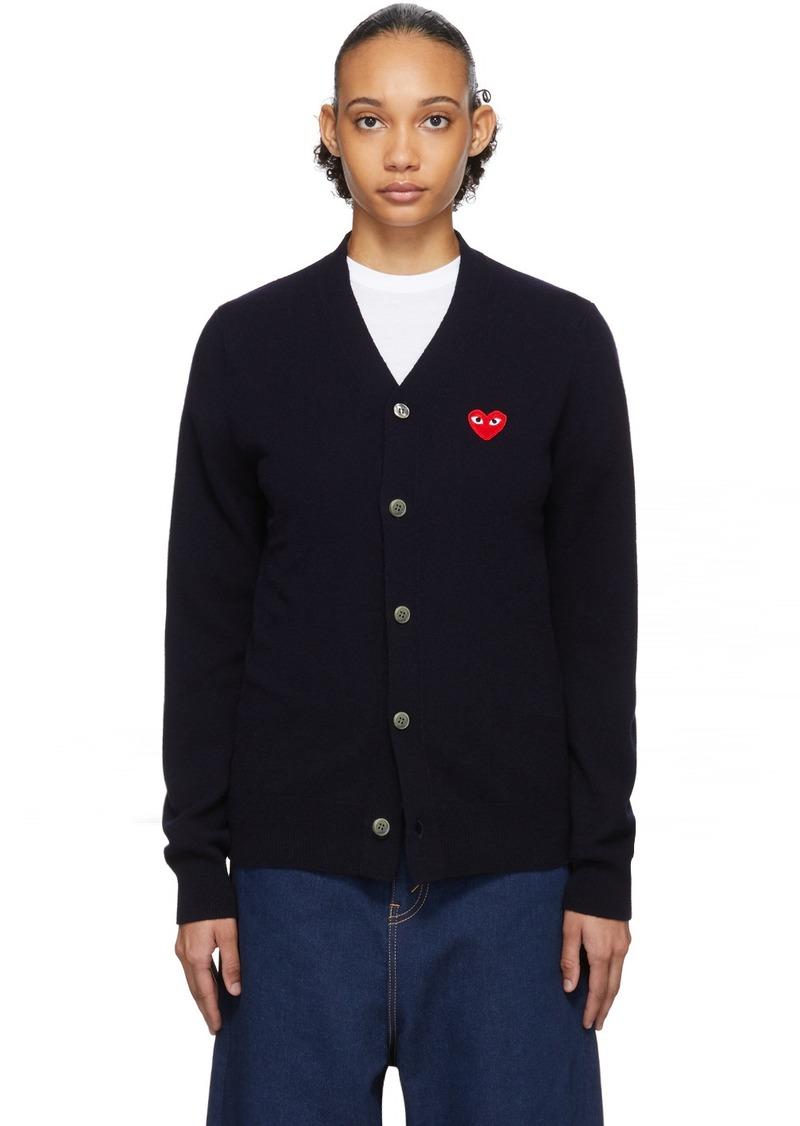 Comme des Garçons Navy Men's Fit Heart Patch Cardigan