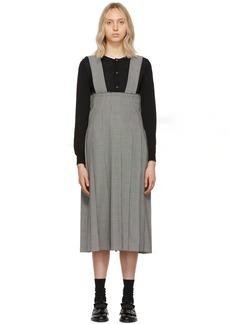 Comme des Garçons Navy Pleated Suspender Skirt
