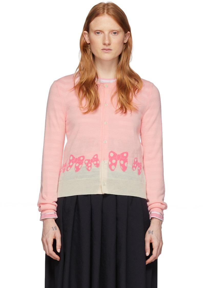 Comme des Garçons Pink & White Disney Edition Ribbons Cardigan