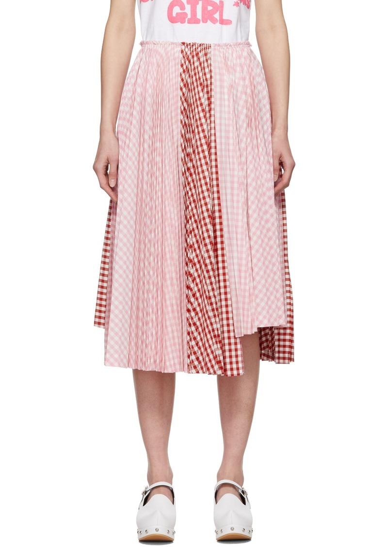 Comme des Garçons Pink & White Gingham Pleated Skirt