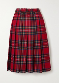 Comme des Garçons Pleated Checked Wool-twill Skirt