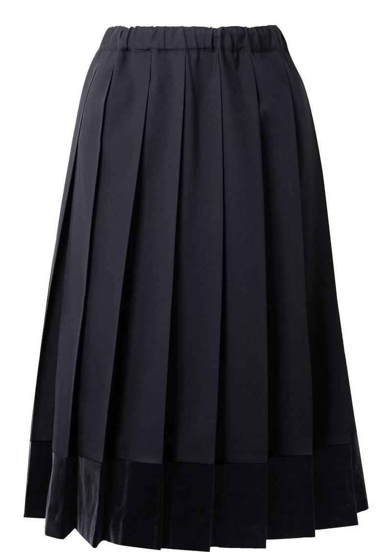 Comme des Garçons Pleated Velvet-trimmed Wool Midi Skirt