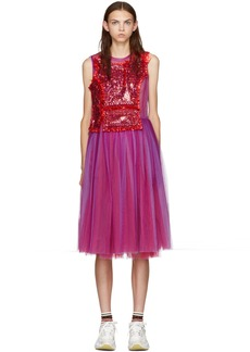Comme des Garçons Purple & Red Sequin Tulle Dress