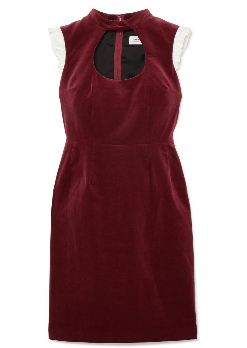 Comme des Garçons Ruffle-trimmed Cutout Cotton-velvet Dress