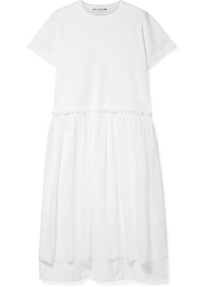 Comme des Garçons Ruffle-trimmed Layered Cotton-jersey And Georgette Dress