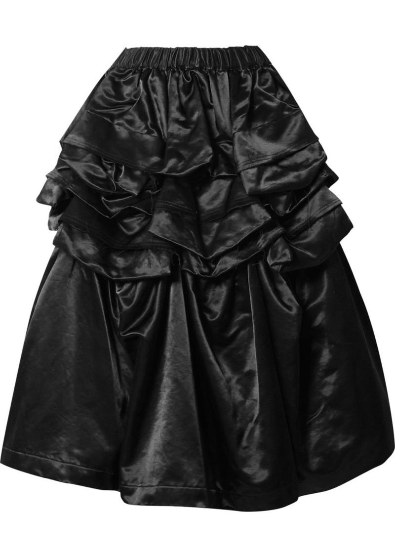 Comme des Garçons Ruffled Cotton-blend Satin Skirt