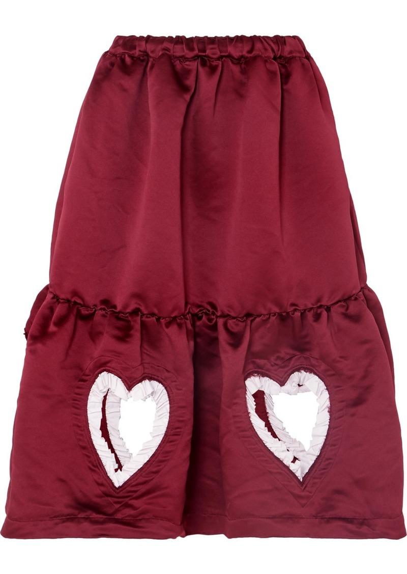Comme des Garçons Ruffled Cutout Tiered Satin Midi Skirt