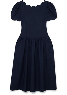 Comme des Garçons Scalloped Wool And Silk-blend Midi Dress