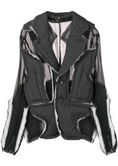 Comme des Garçons sheer pannelled raw edge jacket