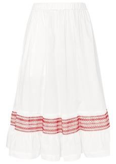 Comme des Garçons Shirred cotton-poplin midi skirt