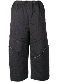 Comme des Garçons slashed twill cropped trousers