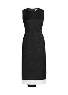 Comme des Garçons Sleeveless Jacquard Drape Midi Dress