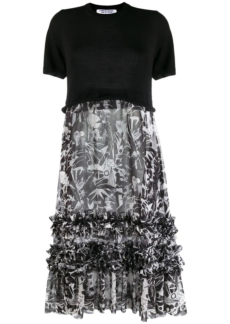 Comme des Garçons two-tone ruffled dress