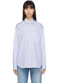 Comme des Garçons White & Blue Mixed Stripe Poplin Forever Shirt