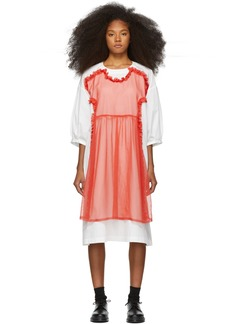Comme des Garçons White & Red Cotton Georgette Dress