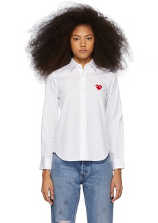 Comme des Garçons White & Red Heart Patch Shirt