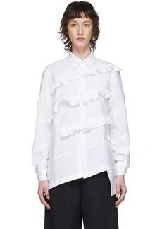 Comme des Garçons White Broad Diagonal Ruffle Shirt