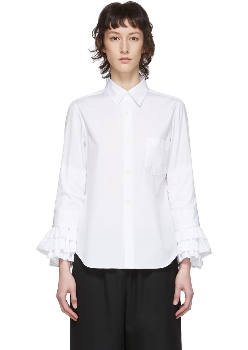 Comme des Garçons White Broad Ruffle Cuffs Shirt