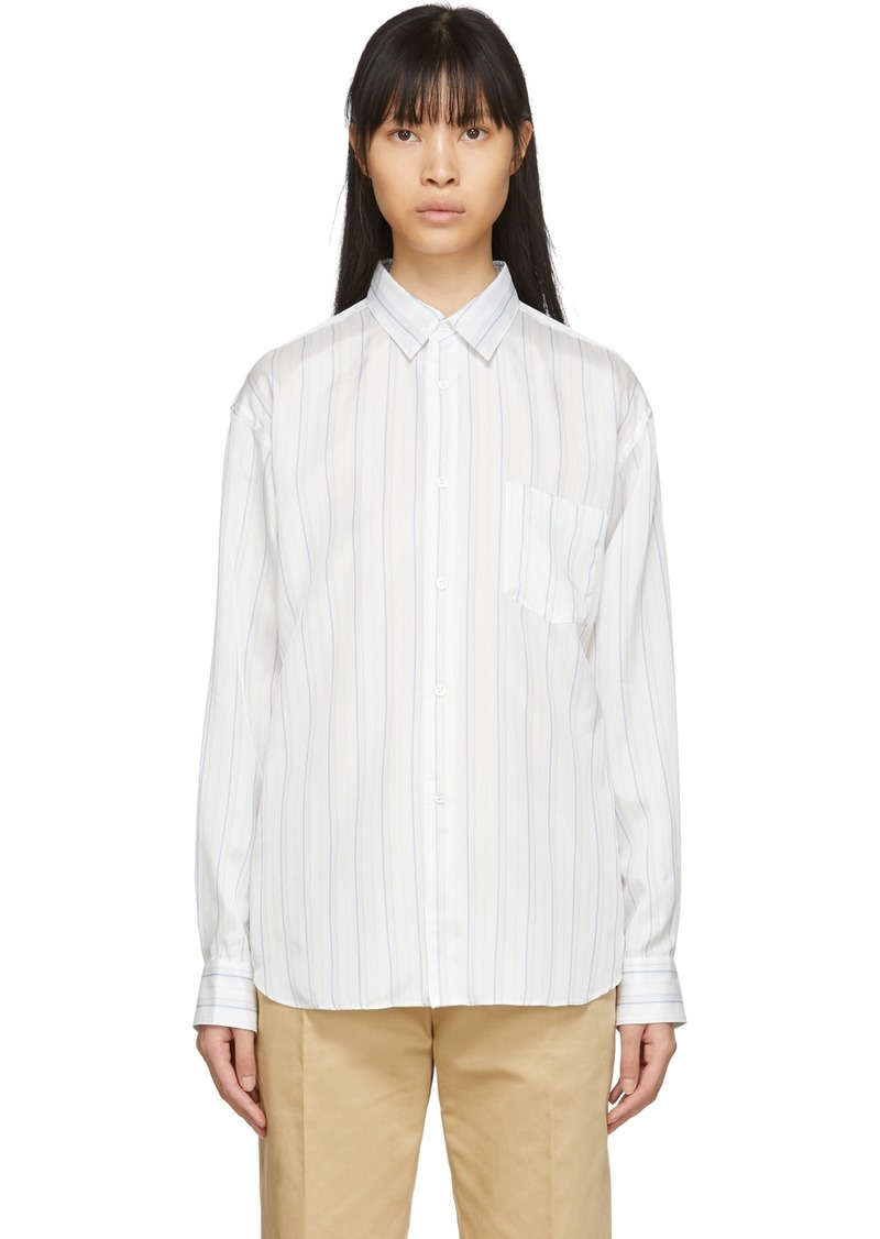 Comme des Garçons White Cupro Striped Forever Shirt