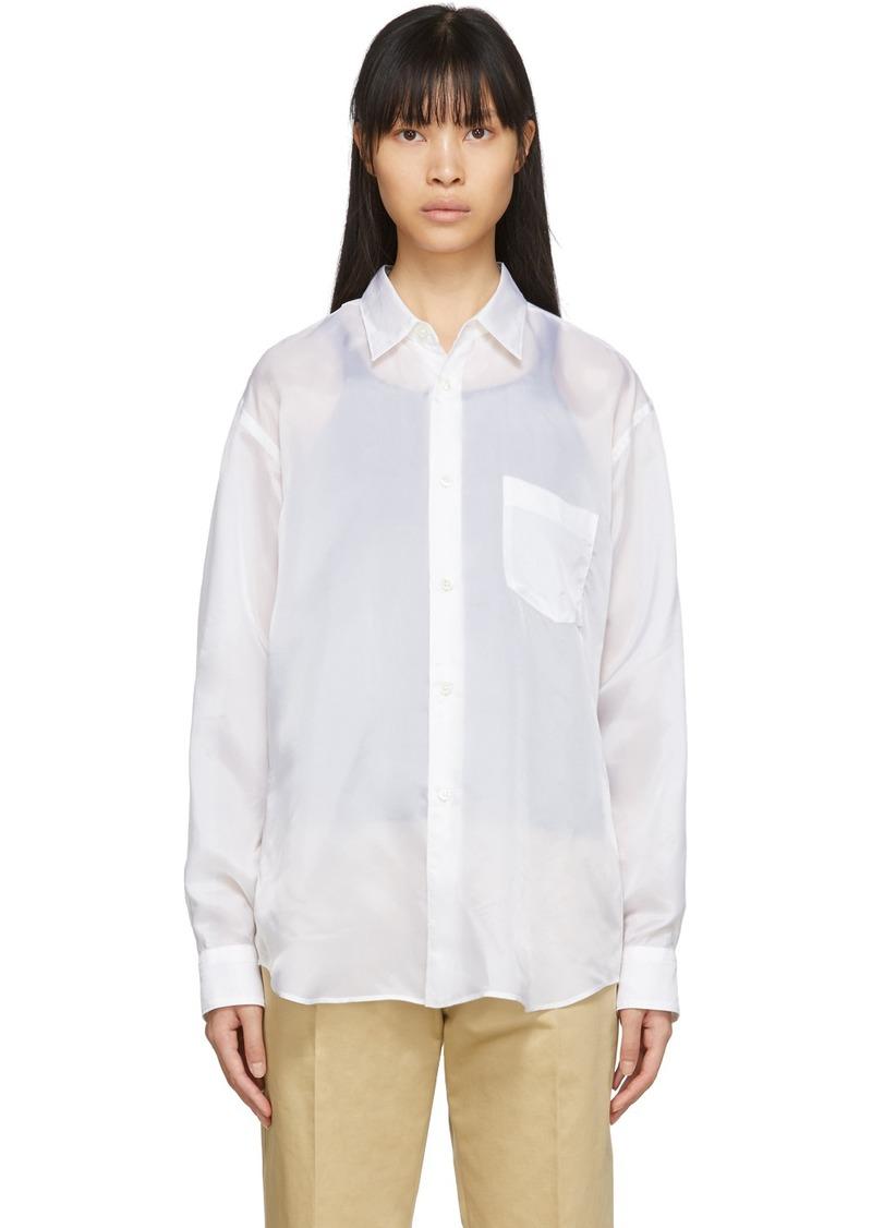 Comme des Garçons White Cupro Taffeta Forever Shirt