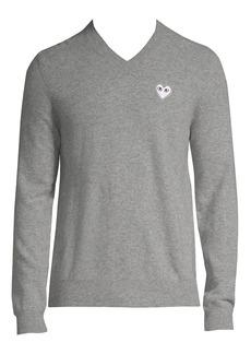 Comme des Garçons White Heart V-Neck Sweater