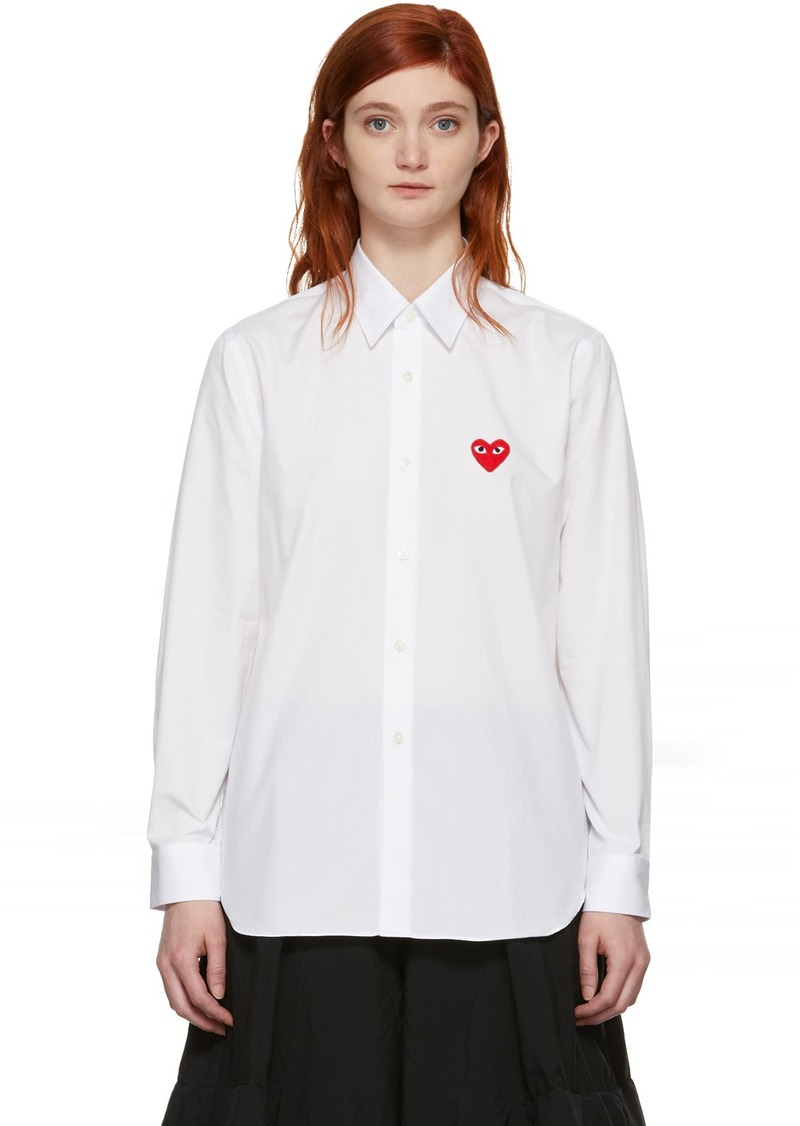 Comme des Garçons White Men's Fit Heart Patch Shirt