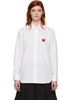 Comme des Garçons White Men's Fit Heart Patch Shirt