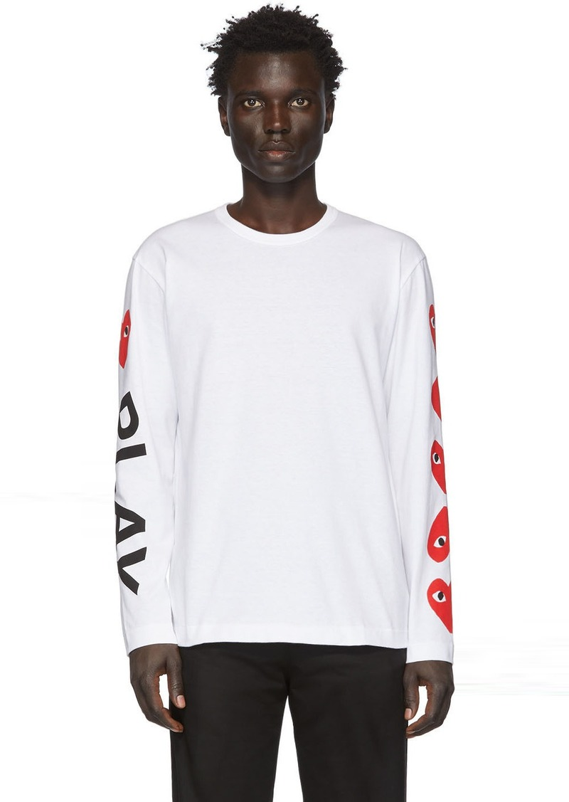 Comme des Garçons White 'Play' Long Sleeve T-Shirt