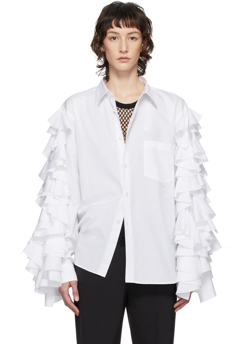 Comme des Garçons White Ruffle Sleeve Shirt