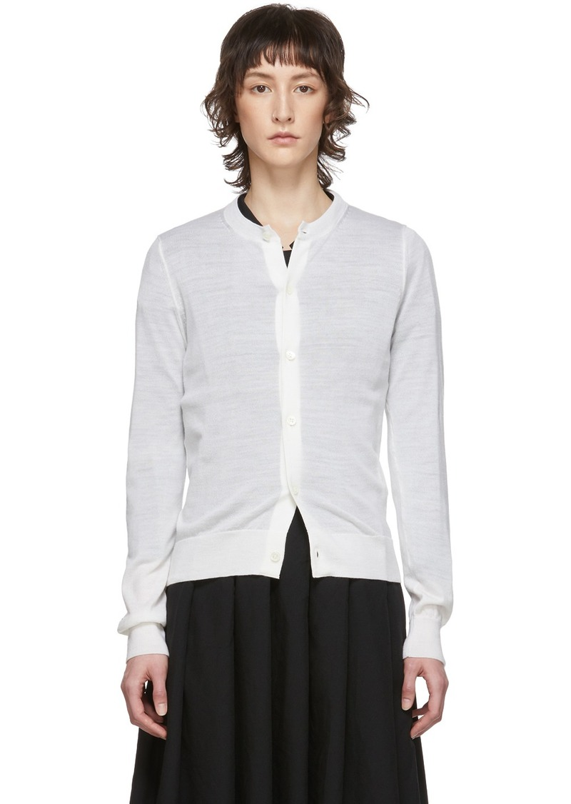 Comme des Garçons White Worsted Wool Cardigan