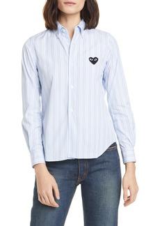 Comme des Garçons Women's Comme Des Garcons Play Heart Stripe Cotton Shirt