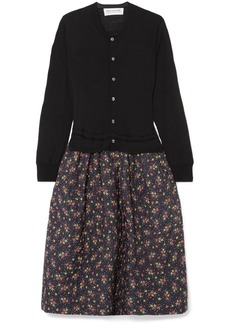 Comme des Garçons Wool And Floral-print Cotton And Silk-blend Midi Dress
