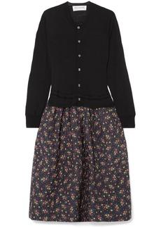 Comme des Garçons Wool And Floral-print Cotton And Silk-blend Midi Dress