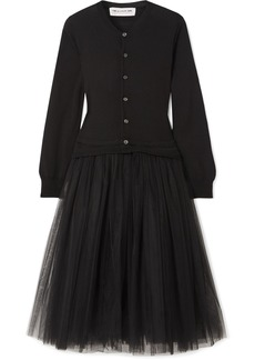 Comme des Garçons Wool And Tulle Midi Dress