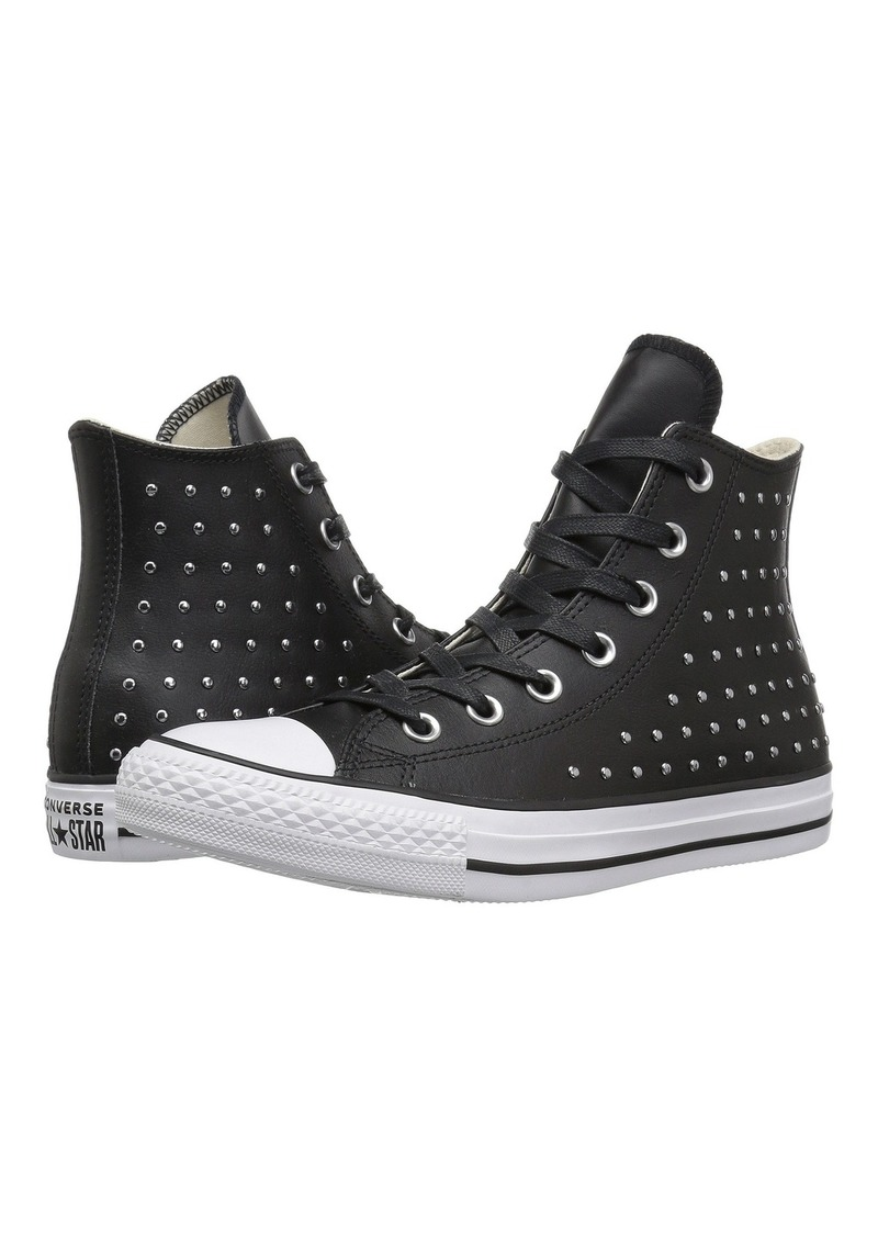 all star converse black leather with tacks