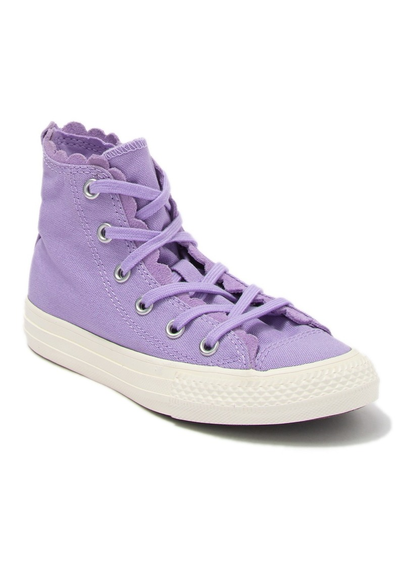 Converse Chuck Taylor(R) All Star(R) Hi Washed Lilac Scalloped Sneaker (Toddler & Little Kid)