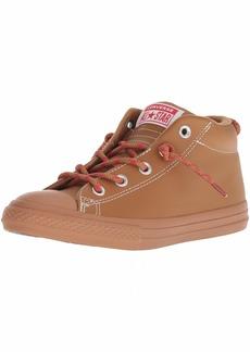 Converse Boys' Chuck Taylor All Star Leather Street Mid Sneaker Burnt Caramel