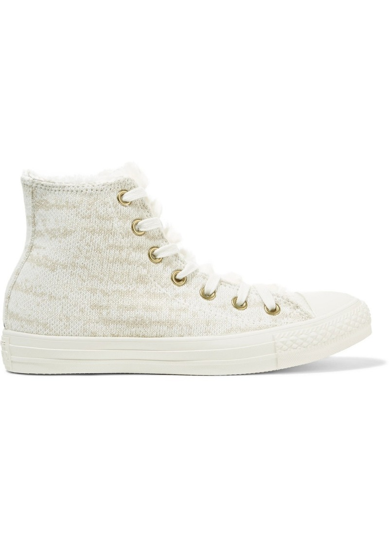 e85ffc1861d2 Converse Chuck Taylor All Star faux shearling-trimmed knitted high-top  sneakers