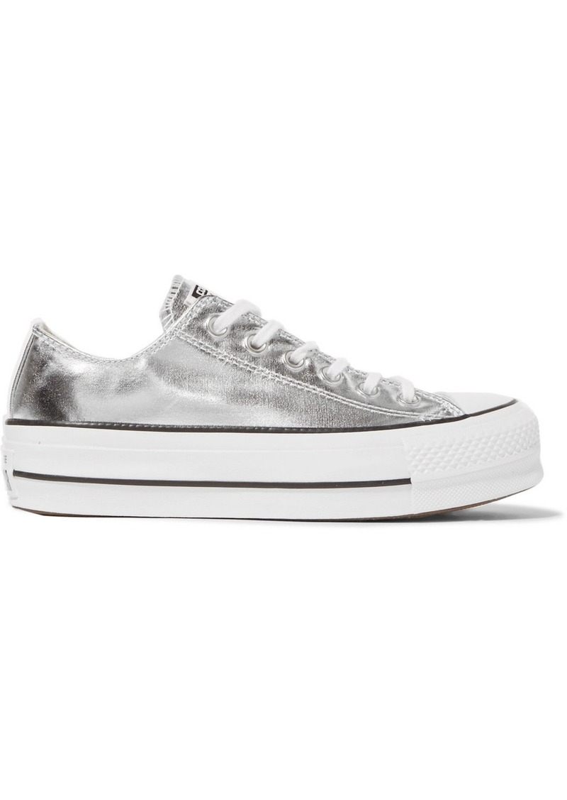 7794e06689d Converse Chuck Taylor All Star Lift metallic textured-leather platform  sneakers