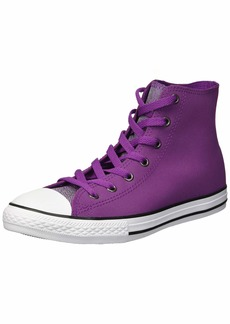 Converse Girls' Chuck Taylor All Star Glitter Leather High Top Sneaker ICON Violet/White