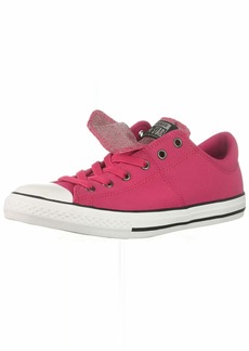 Converse Girls' Chuck Taylor All Star Maddie Glitter Leather Low Top Sneaker Pink POP/Black/White