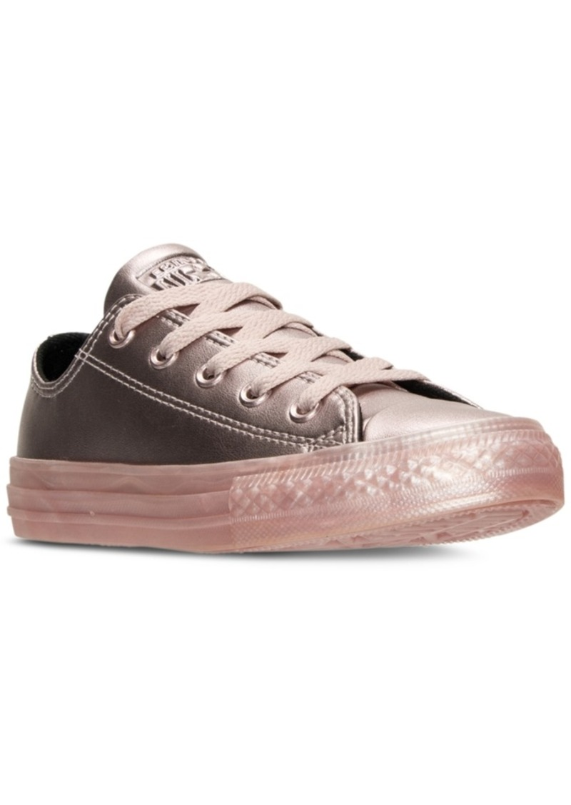 147764d9c95f Big Girls  Chuck Taylor Ox Metallic Leather Casual Sneakers from Finish Line