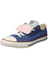 Converse Girls' Double Tongue Star Perforated Low Top Sneaker