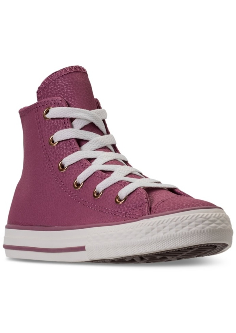 b236f4ac6bc Converse Little Girls  Chuck Taylor High Top Leather Casual Sneakers from  Finish Line